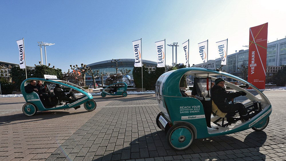 Velo Taxi at the exhibition ground of Messe Frankfurt