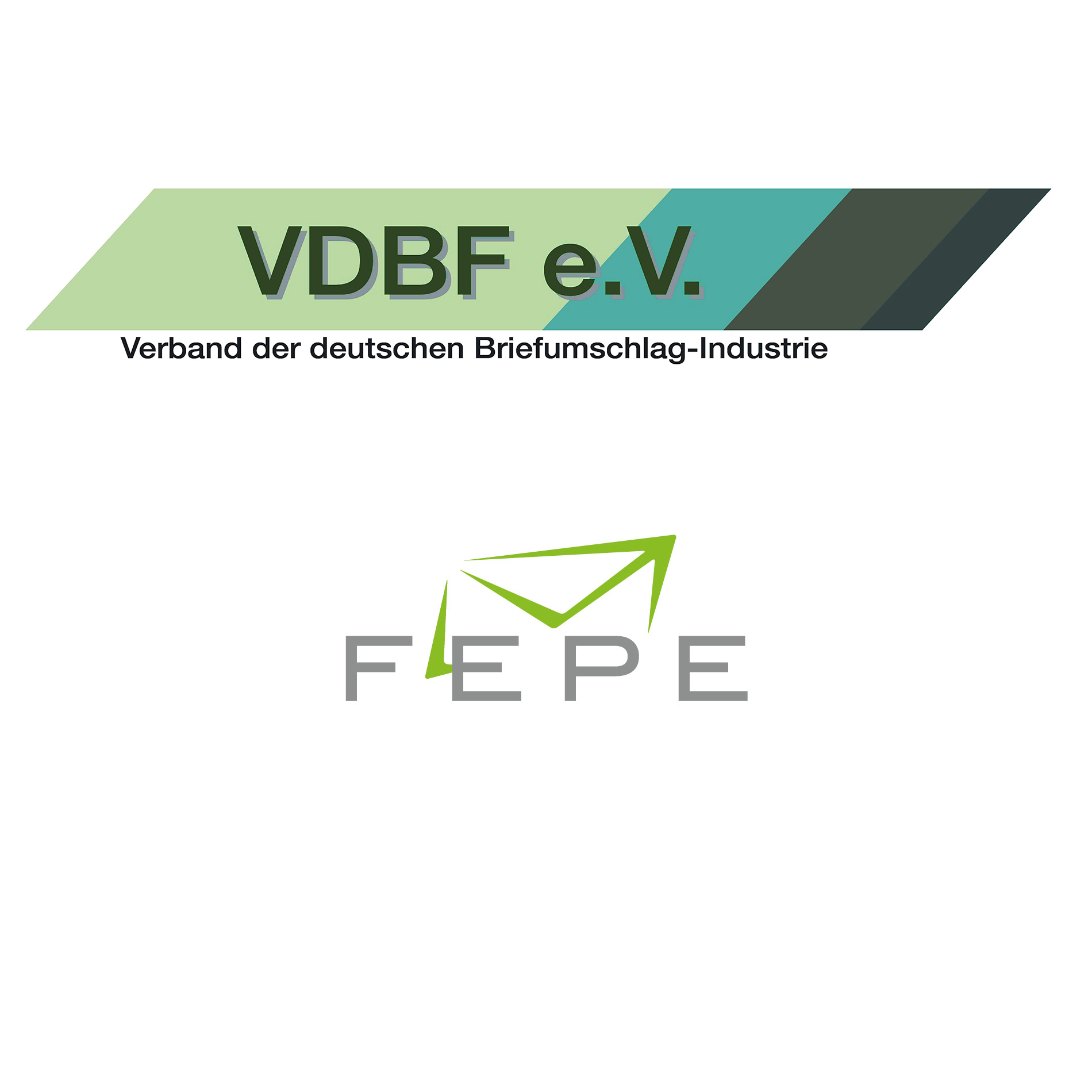 Logos of the Association for the German Envelope Industry (Verband der deutschen Briefumschlag-Industrie e.V. (VDBF)) and FEPE
