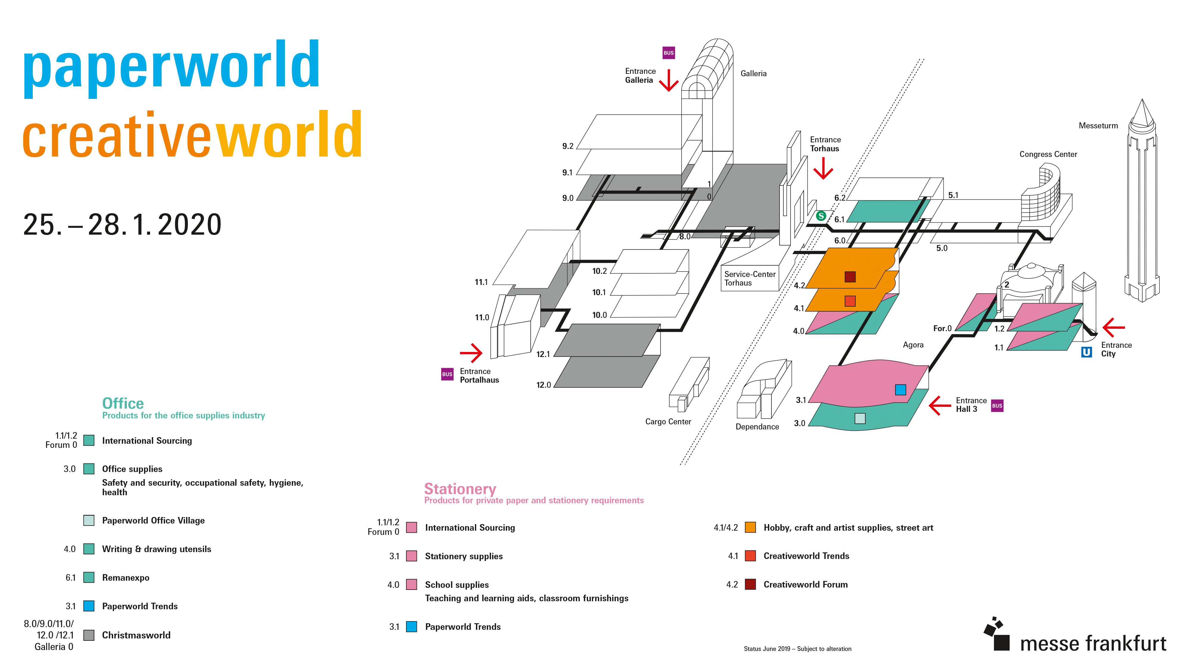 Hall plan for Paperworld and Creativeworld 2020