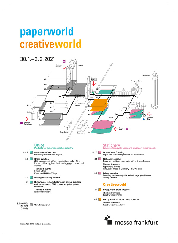 Creativeworld/Paperworld hall plan 2021
